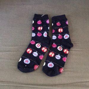 Navy Christmas Bobble crew socks